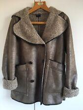 Topshop Bloggers Fave Grey Faux Sheepskin Aviator Pea Coat Jacket 8 36