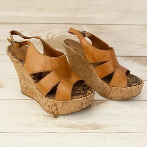 Cathy Jean Cork Brown Platform Wedge Shoe  Size 6 Pre-Owned