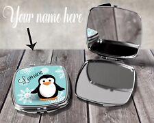 Personalised Penguin Name Cute Compact Mirror Handbag Novelty Wedding Gift