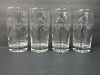 Vintage Etched Tumblers Clear Glasses Floral Vine Leaf Leaves Weighted 5.5""