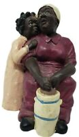 Black African American Woman Churning with young girl Poly Resin Figurine