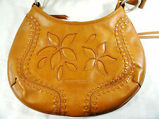 Kenneth Cole NY Womens Brown Woven Leather Handbag Satchel Baguette Hobo Purse