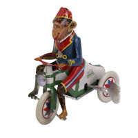 Vintage Style Wind Up Circus Monkey Ride A Car Clockwork W/ Key Tin Toy Xmas