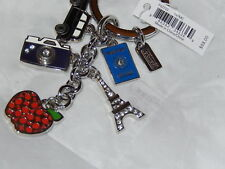 Coach Travel Mix Charms Eiffel Tower Big Apple Camera Passport Keychain/Ring Nwt