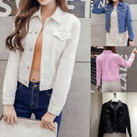 Casual Women Short Denim Jeans Jacket Long Sleeve Coat Street Style Outwear Tops