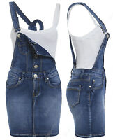 NEW Womens Denim Dungaree Dress Ladies Jean Pinafore Skirt Blue Sizes 8 10 12 14