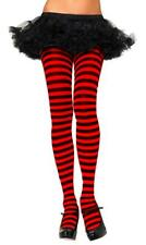 Music Legs Plus Size Women's Opaque Red and Black Striped Tights Pantyhose