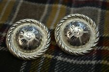 FINEST QUALITY Wide Rope Edge Hibiscus Engraved Center STERLING SILVER CONCHOS