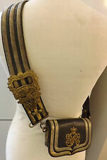 Military Victorian Officers Leather Cross Belt & Pouch Gold Bullion Wire  (2217)