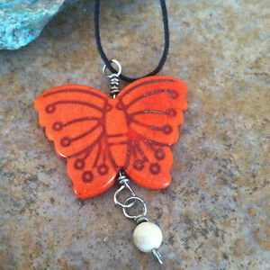 Orange Stone Butterfly Pendant, Handmade Butterfly Necklace, Nature, Boho