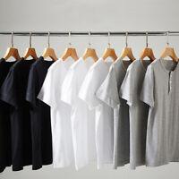 Men Button Neck Henley T-shirt Short Sleeve Top Tee Slim Cotton Basic Plain Soft