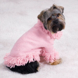 East Side Collection Stretch Knit Dog Sweater Fringe Soft Blossom Pink