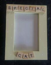 "Bespoke Personalised special cat photo Frame 6""x4"" scrabble art gift keepsake"
