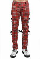 Tripp NYC Chaos Pants (Red Plaid) Punk Rock Tartan Trousers Jeans Goth Emo