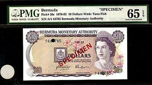 Bermuda SPECIMEN 10 Dollars 1978 PMG 65 EPQ UNC Pick# 30s S/N A/1 44785