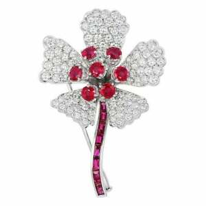 2.42ct Natural Round Diamond 14k Solid White Gold Ruby Gemstone Brooch Pin