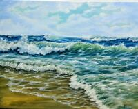 "Art 14""/11""oil hand painting, Seascape,waves,surf,sea,ocean,beach,artgift"