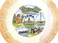 """9"""" State of Iowa  Plate Lake Okoboji SS Queen Hawkeye Gold Gilt"""