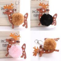 Womrn Fluffy Reindeer Keychain Faux Rabbit Fur Bag Car Key Ring Deer Xmas Gift