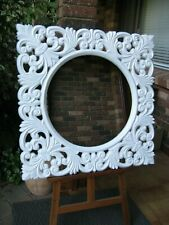 Decorative Wall Mirror Floral Carving Style White Frame 90cm x 90cm