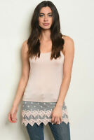 New Blush Pink Lace Trimmed Tunic Tank Top pick S M L