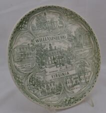 Souvenir Plate Williamsburg Virginia Green Jamestown hurch Tower MCM