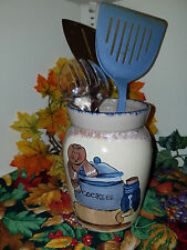 Ceramic utensil container with handpainted gingerbread scene 1112201611