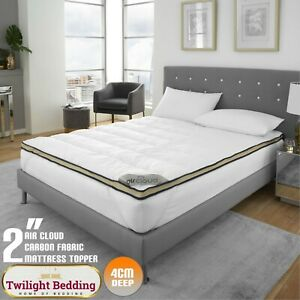 """2"""" DEEP EXTRA SOFT CARBON BREATHABLE Mattress Topper Protector Soft Touch Cover"""