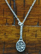 Tennis Racquet Ball US Open Pendant Charm 925 Sterling Silver Chain / Necklace