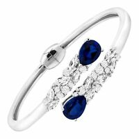 Created Blue & White Sapphire Bypass Cuff in Sterling Silver, 7""