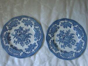 "2 Vintage blue & white Enoch Wedgwood ""Asiatic Pheasants"" 8"" plates dresser"