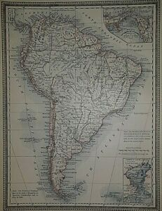 Old Authentic Antique 1881 Map ~ SOUTH AMERICA - ISTHMUS of PANAMA ~ Vintage
