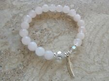 Rose Quartz Gemstone Stone Sterling Silver Feather Charm Stretch Beaded Bracelet