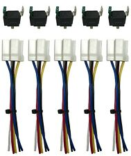 """(5) 4 Pin 12V Relay Switch 30 Amp Fuse W/ 6"""" Socket Wire Harness"""