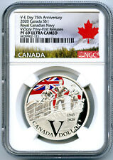 2020 $1 CANADA SILVER V-E VE-DAY NAVY VICTORY PRIVY NGC PF69 UCAM PROOF DOLLAR
