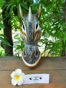 Tribal Zebra Head Mask  - hand crafted wall hanging - 30cm (brown/black)