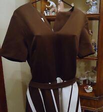 """Nos Vtg 70s Midcentury Brown White Striped Dress Jones sz 14 Full Sweep Hem 68"""""""