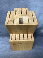 Knife Block Miracle Blade Iii 15 Slot Solid Brown Wood Storage Block
