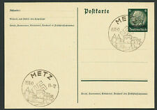 1940 Nazi Germany Rising Swastika Metz Castle Postmark Occupied Alsace-Lorraine