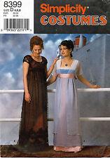 Simplicity Misses' Costume Titanic Empire Dress Pattern 8399 Size 4-8