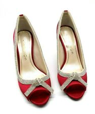 Caparros Pumps Prom 6 M Peep Toe Ruby Red Satin Glow Clear Rhinestones $90