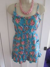 Ladies size 8 Atmosphere turquoise pink strappy sleeveless summer floral top