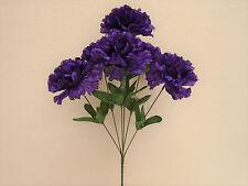 "4 Bushes PURPLE Carnation 6 Artificial Silk Flowers 16"" Bouquet FB341PU"