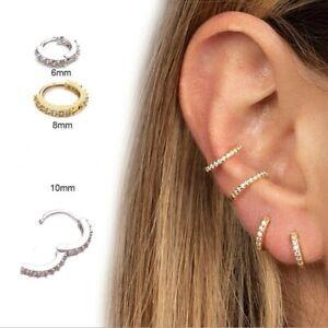Small Delicate Cubic Zirconia Huggie Hoop Earrings - New In Gift Box - 3 Sizes