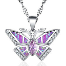 Fashion woman 925 Silver butterfly Pink Fire Opal Charm Pendant Necklace Chain ~