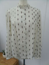 Indigo M&S Pretty Ivory Patterned Shirt Top Blouse Long Sleeve Size UK 14 BNWT