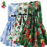 Hot Sale Women's Vintage Print Long Sleeve Christmas Evening Party Swing Dress