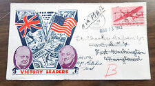 US 1943 Churchell Roosevelt patriotic cover thermographed 3 color cachet