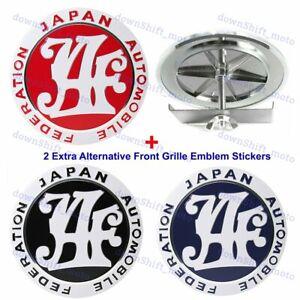 Japan Automobile Federation JAF Red Grille Emblem Badge + 2 Alternative Stickers