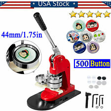 New 44mm/1.75in Badge Button Maker Machine with 500 Buttons Badge Punch Press Us